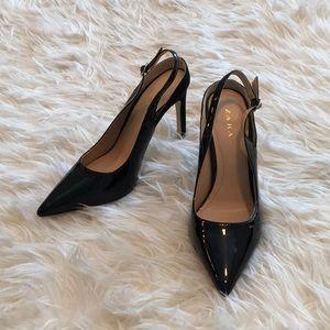 Zara Black Patent & Suede Slingback Heels